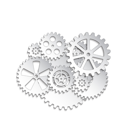 white gears on a white background, vector illustration clip-art