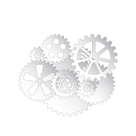 Drawing gears on a white background, vector illustration clip-art Ilustrace