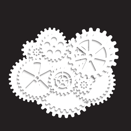 white gears on a black background, vector illustration clip-art 向量圖像