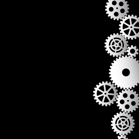 white gears on a black background, vector illustration clip-art Çizim
