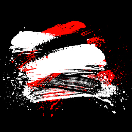smudge and smear a color brush on a black background, illustration clip-art