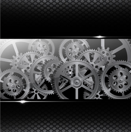 Drawing gears on a black background, vector illustration clip-art