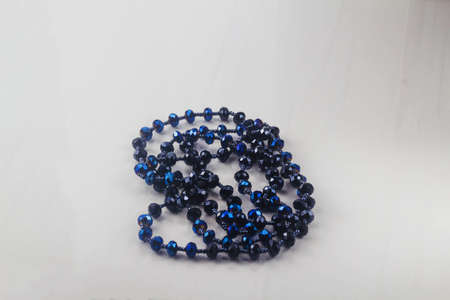 Beads on a white background. copy space