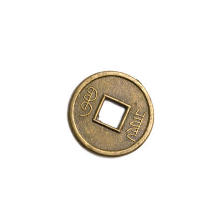 Chinese coin on a white background isolate 版權商用圖片