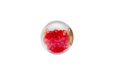 Christmas glass ball inside with red crystals