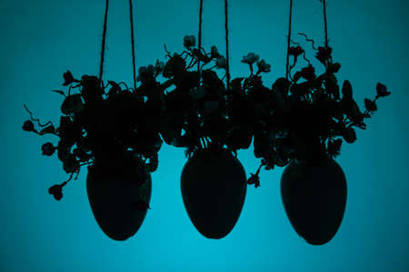 Three hanging pots with artificial flowers. Decorative element of the house on a blue background. Copy space.