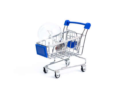 shopping cart with incandescent lamp on a white background. isolate 写真素材