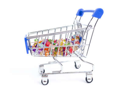 shopping cart with beads of multi-colored gemstones on a white background. isolate
