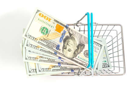 a basket with blue inserts is inserted into the wrapped one hundred dollar bills on a white background. isolate
