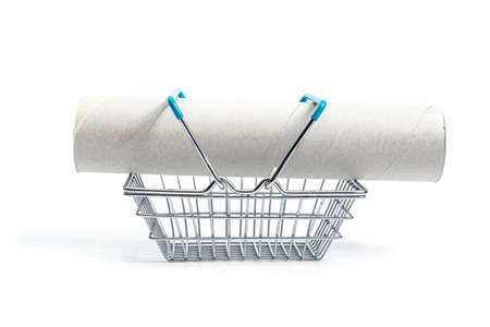shopping basket with finished paper towels on a white background. isolate, side view
