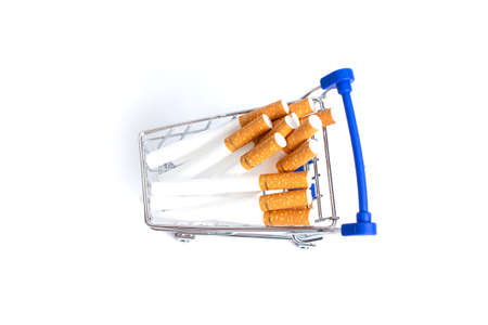 shopping cart lies a cigarette on a white background. isolate