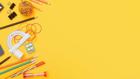 Back to school concept, school supplies on yellow background,flat lay with copy space Zdjęcie Seryjne