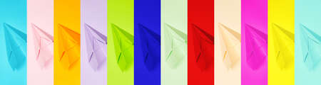 minimalism banner, set of multi-colored, paper airplanes, flatley, copyspace