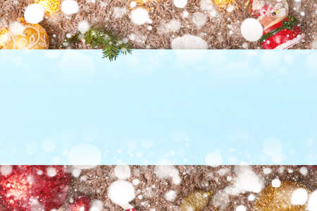 christmas frame and toys with blue leaf, bokeh, flatley, copy space ,banner, footer, header Foto de archivo