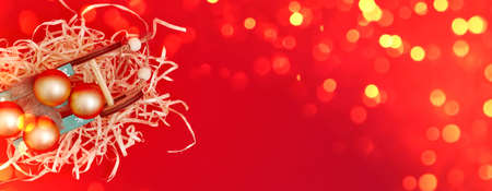 Banner, Christmas composition, gifts on red background, copyspace Reklamní fotografie