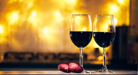 happy valentines day concept, glasses with wine bar counter background copy space