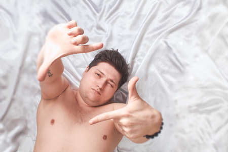 Caucasian Man Lying Bed White High Key, Banner, Copy Space