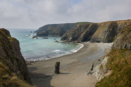 Tra na mBo beach in Ireland. View from a house of a beautiful Irish beach. Scenic view