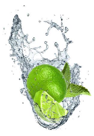 Lime in water splash Stock Photo