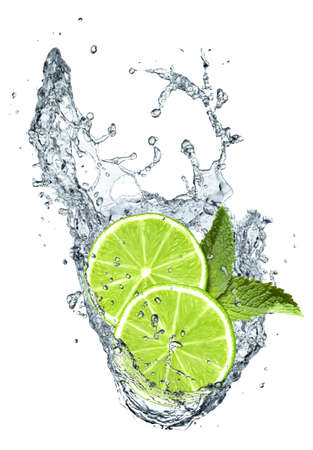 Lime slices and water splash Stock Photo