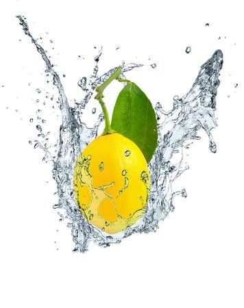 lemon, leaves and water splash 2