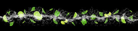 Lime, mint and water splash Stock Photo