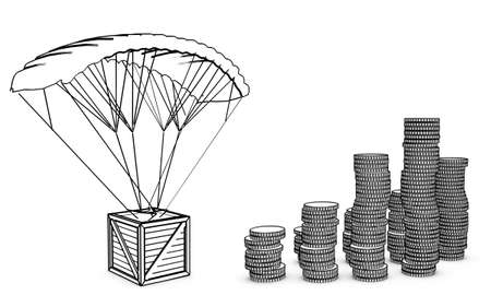 parachute with coins