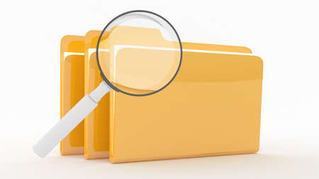 Folders with lens on wite background Stock Photo - 10767569