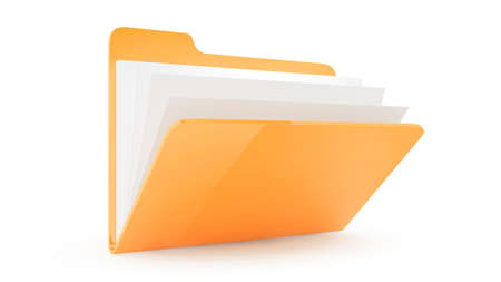 Folder Folder with fileswith files on wite background