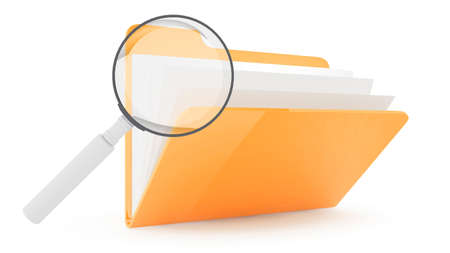 Folder with lens on wite background Stock Photo - 10767566