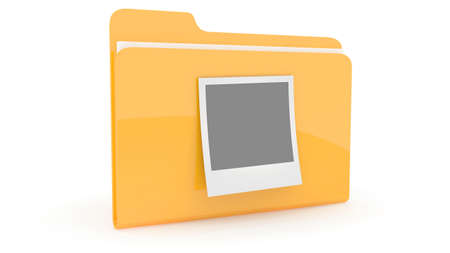 Folder with content icon on wite background photo