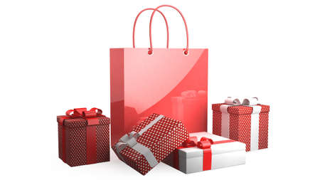 closed ribbon: Present boxes and shopping bag Stock Photo