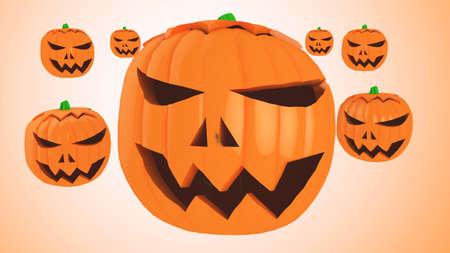 halloween pumpkins on orange background