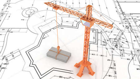 Crane on the construction plan Stock Photo