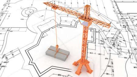 Crane on the construction plan Stock Photo
