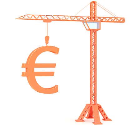 Crane with euro on white background