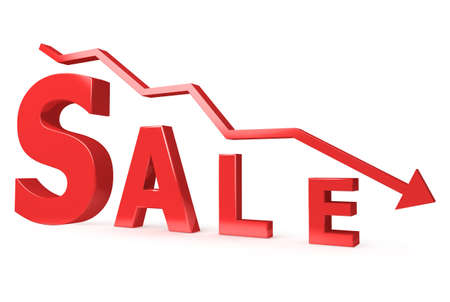 red Sale sign with arrow on whitw background photo