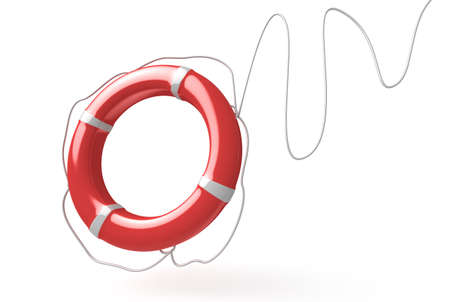 Red lifebuoy on white background photo