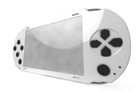 white game console on white background