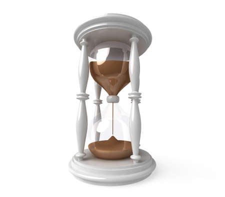 hourglass with reflection on white background