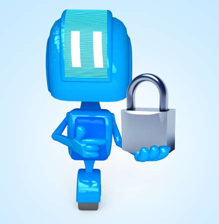 Robot holds lock Stock Photo - 13778535