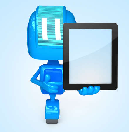 Robot holds tablet pc photo