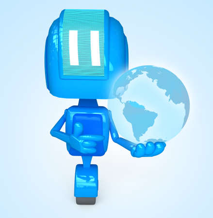 Robot holds earth
