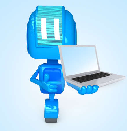 Robot holds computer Stock Photo