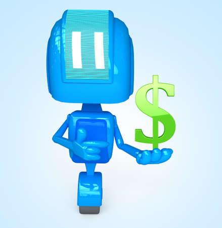 Robot holds dollar Stock Photo