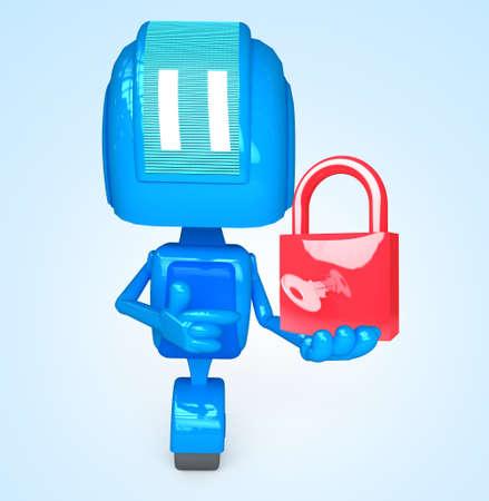 Robot holds lock Stock Photo - 13778868