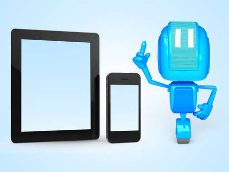 robot with phone and tablet photo