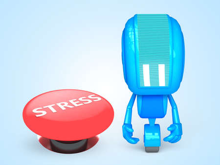 Sad robot with stress button photo