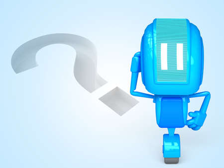 robot with question Stock Photo - 13778874