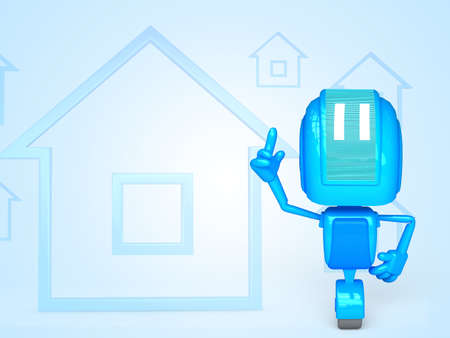robot with house icon photo